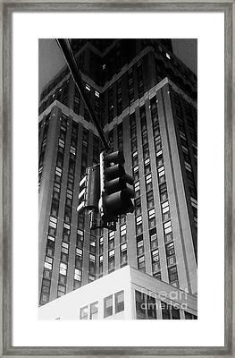 Skyscraper Framed Traffic Light Framed Print by James Aiken