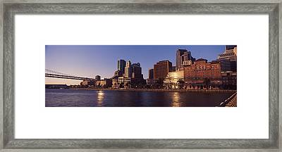 Skyscrapers And Bay Bridge At Sunset Framed Print