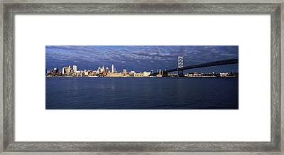 Skyscrapers And Ben Franklin Bridge Framed Print