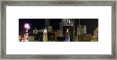 Skyscrapers And Firework Display Framed Print by Panoramic Images