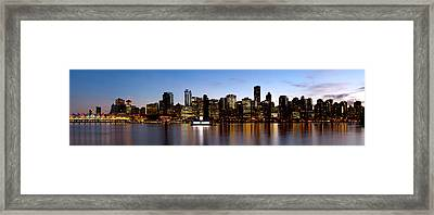 Skyscrapers At The Waterfront, Coal Framed Print by Panoramic Images
