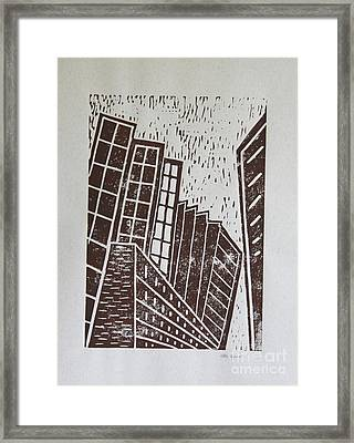 Skyscrapers - Block Print Framed Print by Christiane Schulze Art And Photography