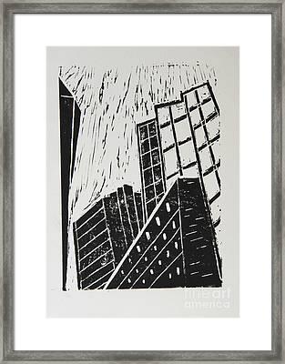 Skyscrapers II - Block Print Framed Print