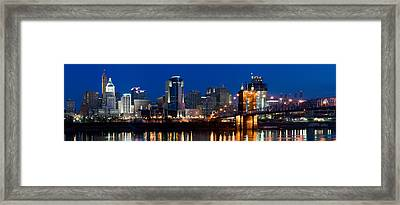 Skyscrapers In A City, Cincinnati Framed Print by Panoramic Images