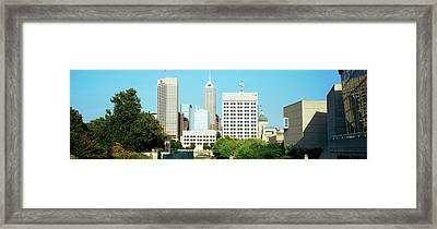 Skyscrapers In A City, Indianapolis Framed Print by Panoramic Images