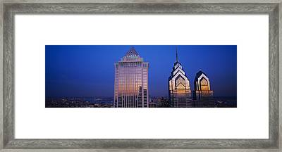 Skyscrapers Lit Up At Night, Mellon Framed Print by Panoramic Images
