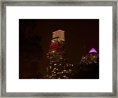 Skyscrapers Through The Trees Framed Print