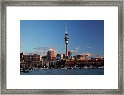Skytower, Cbd, And Yachts, Viaduct Framed Print