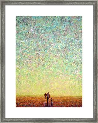 Skywatching In A Painting Framed Print by James W Johnson