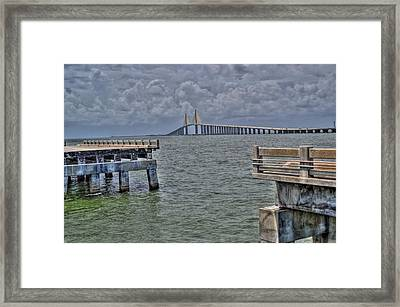 Skyway Bridge New And Old Framed Print