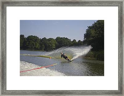 Slalom Waterskiing Framed Print by Venetia Featherstone-Witty