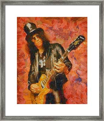 Slash Shredding On Guitar Framed Print by Dan Sproul