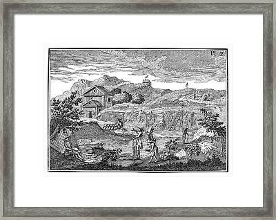 Slate Quarrying Framed Print by Science Photo Library