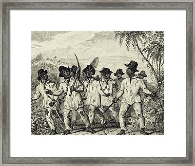 Slaves Chained Together By The Neck Framed Print