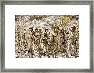 Slaves Escaping Via Underground Railroad Framed Print by Science Source