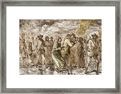 Slaves Escaping Via Underground Railroad Framed Print