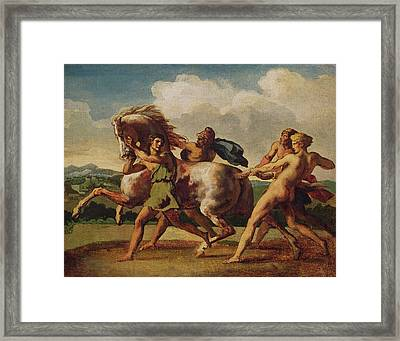Slaves Stopping A Horse, Study For The Race Of The Barbarian Horses, 1817 Oil On Canvas Framed Print