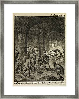 Slaves Working In An Underground Catacomb Framed Print