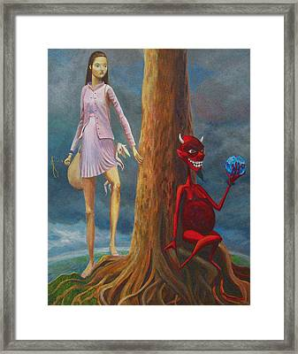 Slaying The Devil Who Eats My Dreams Framed Print by Mindy Huntress
