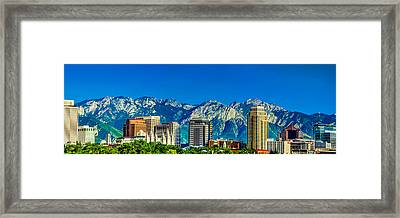 Slc Skyline With Lds Temple Framed Print by La Rae  Roberts