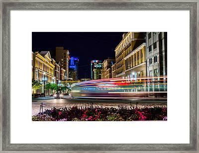 Slc Street Light Rail Framed Print by La Rae  Roberts