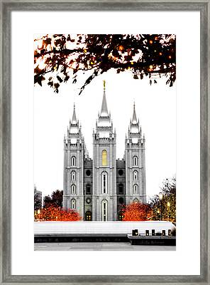 Slc White N Red Temple Framed Print by La Rae  Roberts