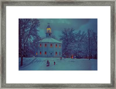 Sledding At The Old Round Church Framed Print