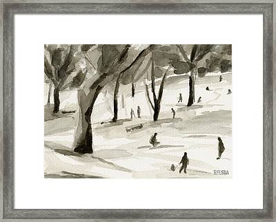 Sledding In The Snow Watercolor Painting Of Central Park Nyc Framed Print by Beverly Brown