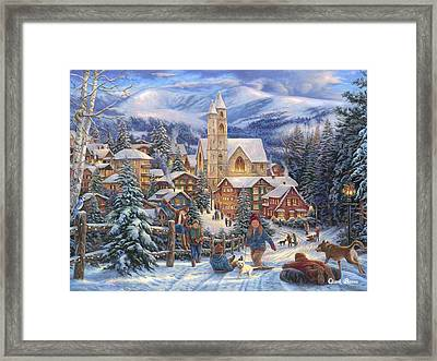 Sledding To Town Framed Print