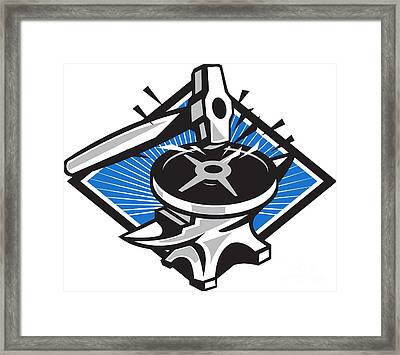 Sledgehammer Striking 45lb Weight Anvil Retro Framed Print by Aloysius Patrimonio