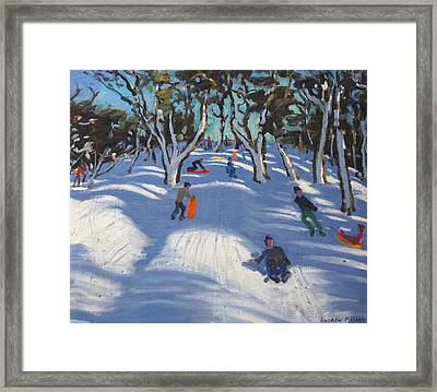 Sledging At Ladmanlow Framed Print by Andrew Macara