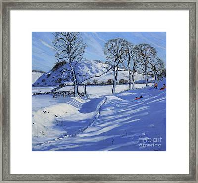Sledging  Derbyshire Peak District Framed Print by Andrew Macara