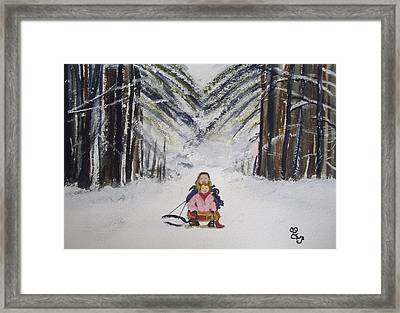 Sledging In The Wood Framed Print