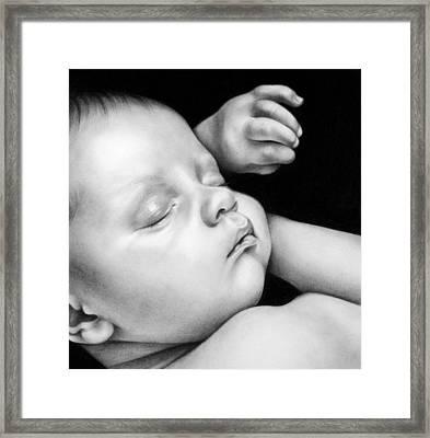 Sleeping Baby Framed Print by Natasha Denger