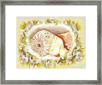 Framed Print featuring the painting Sleeping Baby Vintage Dreams by Irina Sztukowski