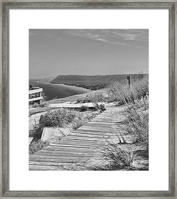 Sleeping Bear Dunes Path Black And White Framed Print by Dan Sproul