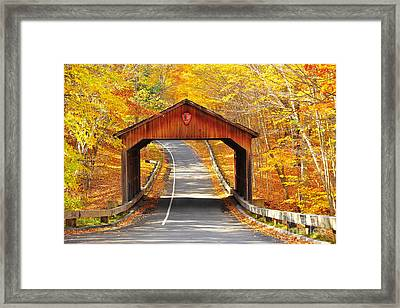 Sleeping Bear National Lakeshore Covered Bridge Framed Print by Terri Gostola
