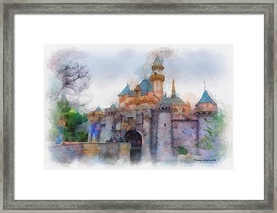 Sleeping Beauty Castle Disneyland Side View Photo Art 01 Framed Print by Thomas Woolworth