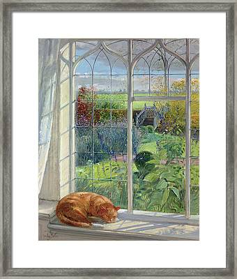 Sleeping Cat And Chinese Bridge Oil On Canvas Framed Print