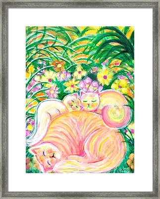Framed Print featuring the painting Sleeping Cats by Anya Heller