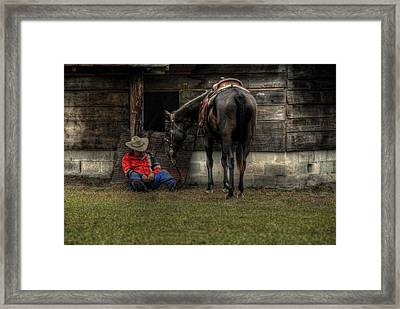 Sleeping Cowboy Framed Print