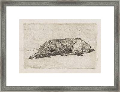 Sleeping Dog, Jan Weissenbruch Framed Print by Artokoloro