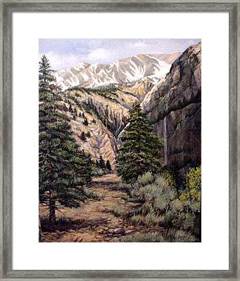 Framed Print featuring the painting Sleeping Faces In The Rock by Donna Tucker