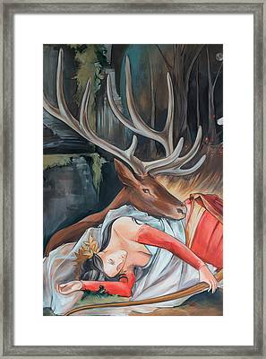Sleeping Huntress Framed Print