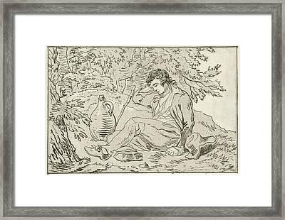 Sleeping Man, Hermanus Fock Framed Print
