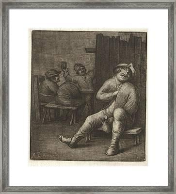 Sleeping Man In A Tavern, Jacob Hoolaart Framed Print