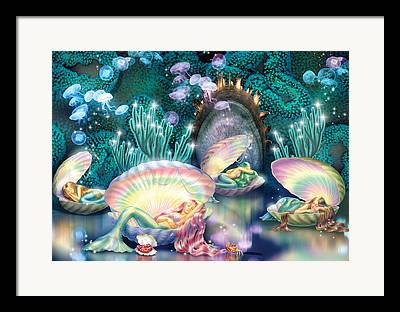 Sleeping Mermaid Framed Prints