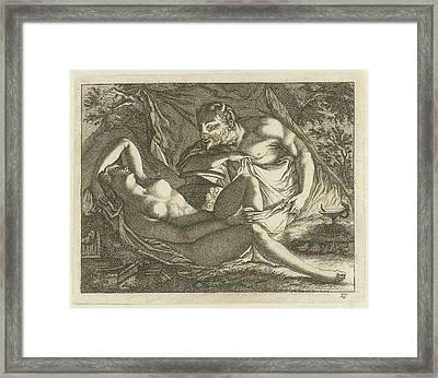 Sleeping Nymph Watched By A Satyr, Arnold Houbraken Framed Print