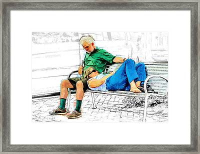 Sleeping On A Park Bench Framed Print