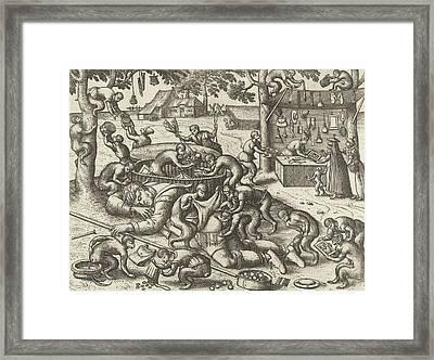 Sleeping Peddler Robbed By Monkeys, Pieter Van Der Borcht Framed Print by Pieter Van Der Borcht I And Pieter Brueghel I